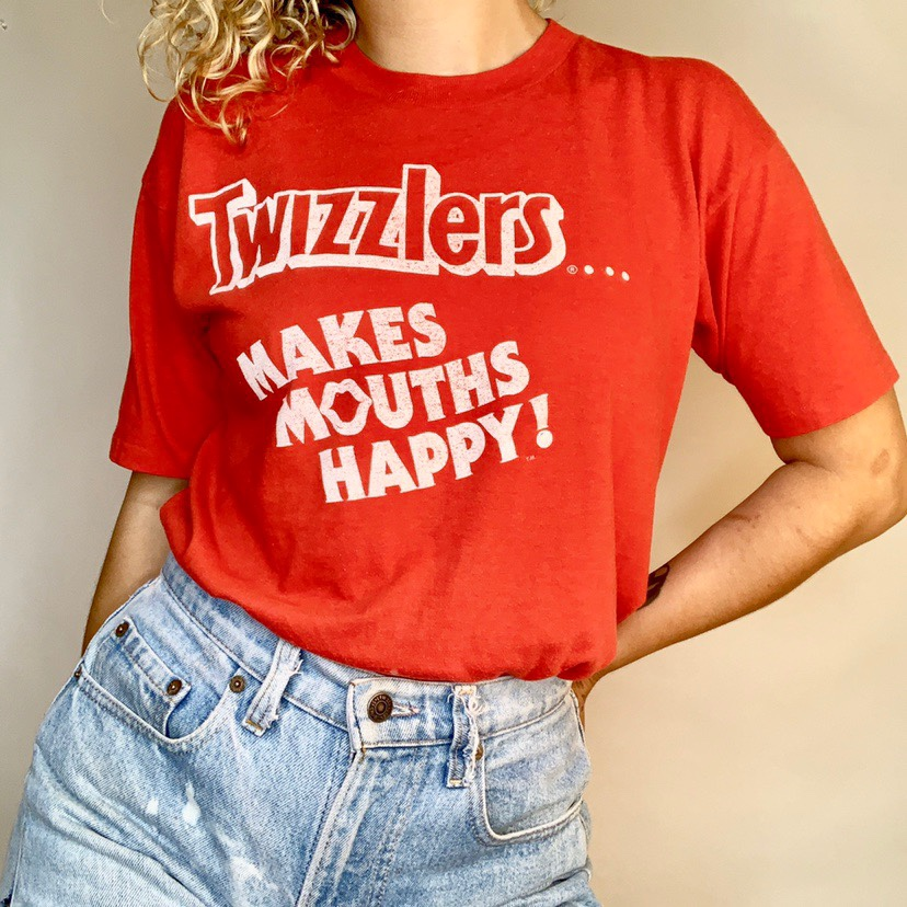 Vintage 80s paper thin Twizzlers candy t-shirt     - Depop