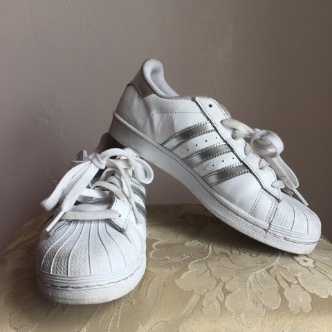 e67e003c56b0 Adidas Superstar trainers (silver and white). Size 5 38 • • - Depop