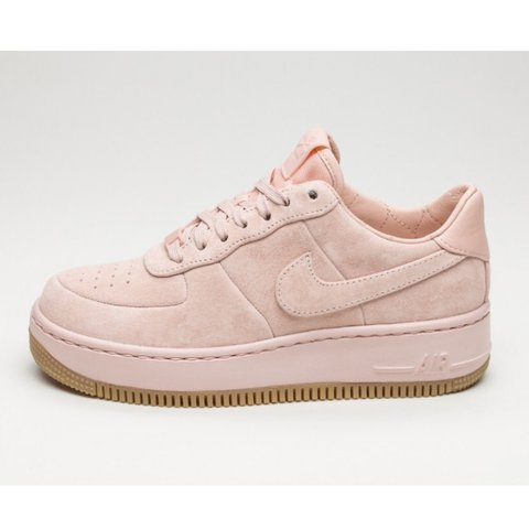brand new 662dc b1822  nicoleholt. last year. Coventry, United Kingdom. Nike Air Force 1 Upstep  Suede trainers in pink.