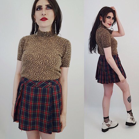 293542d110 ☮90s vintage plaid #skirt ☮ ☮F E A T U R E S☮ High waisted - Depop