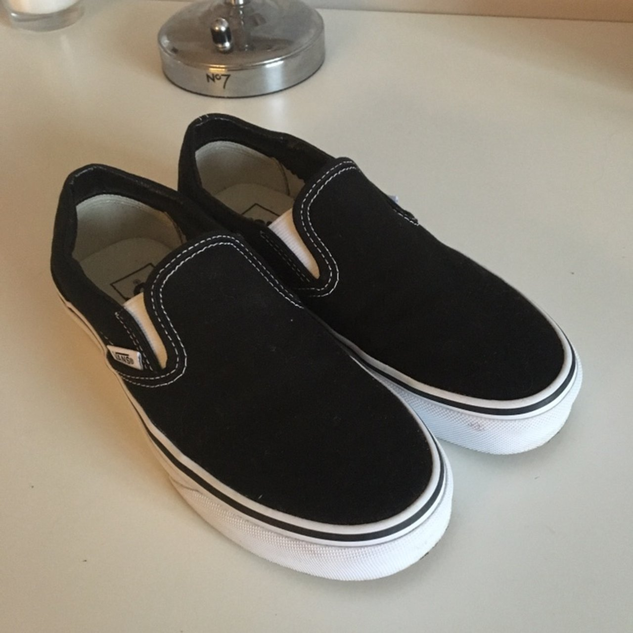 c2517214699f2a vans size UK 3 classic black and white slip ons