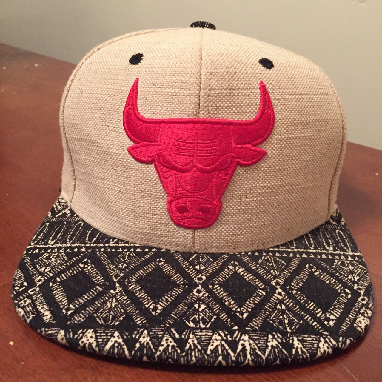5c82ec96d8f Mitchell and Ness Burlap Chicago Bulls hat with leather - Depop