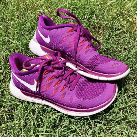 on sale 45e09 9b5c1 Nike Free 5.0 Shoes - Purple with red accents and... - Depop