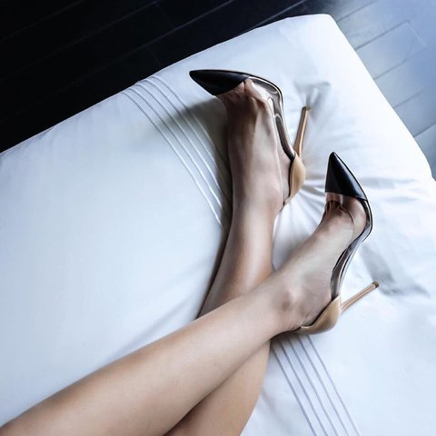 ca277954391 Gianvito Rossi iconic clear and nude heels with black point - Depop