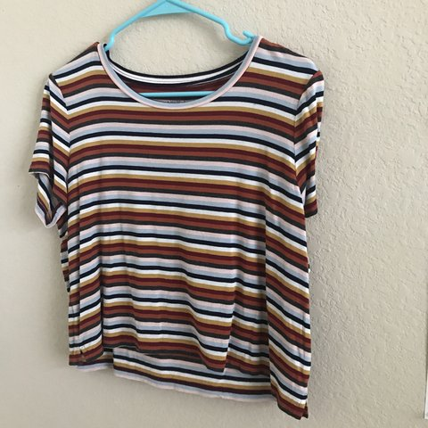 9ee5900b54b super cute multi color striped crop top style tee perfect is - Depop