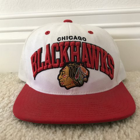 4387cb0a Vintage Chicago Blackhawks NHL SnapBack hat by Mitchell and - Depop