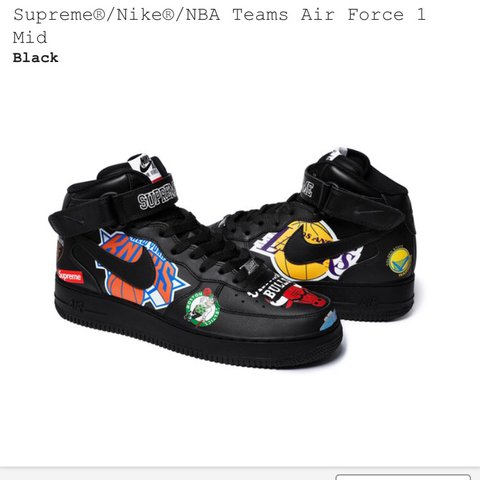 2b63ac2a7608 Supreme X NBA X Air Force 1 Mid 07  Black  Awesome shoe to - Depop