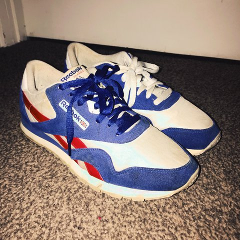 f6abbcc10d2d4 Reebok Classic red   white   blue trainers. Used UK size . - Depop