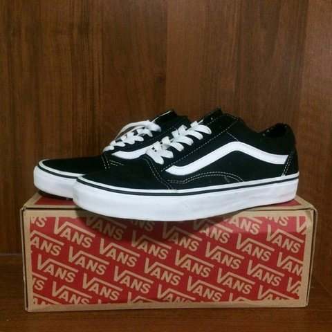 660ba816752d Brand new old school vans • unisex black and white vans size - Depop