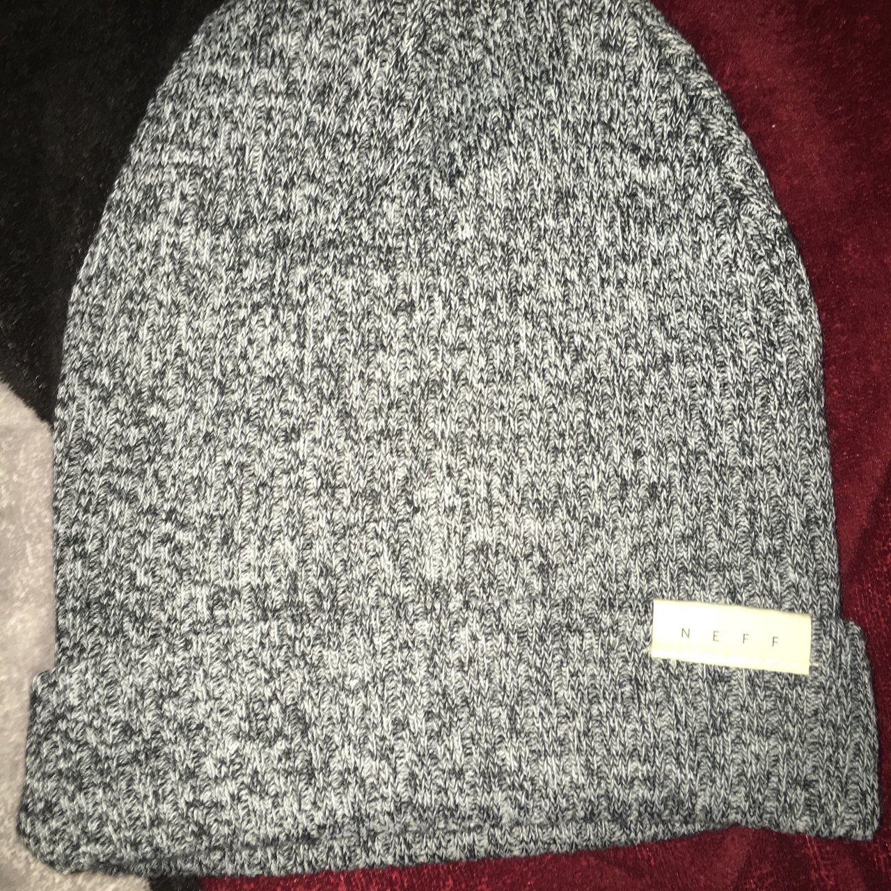 97dfed04b1f neff grey ride beanie Only wore once still like new ! - Depop