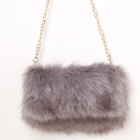 88988afbe9 Grey fur fluffy clutch bag with gold attachable strap new on - Depop