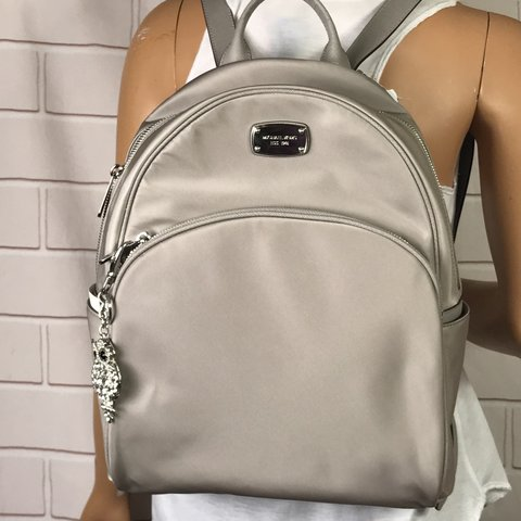 f03221961ae3c NWT Michael Kors Abbey Backpack Color  Grey pearl Size  H - Depop