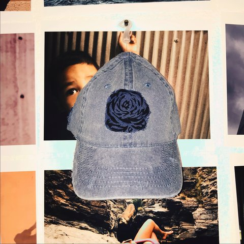 b571d7fe43d The E. Mujer Dad hat Denim distressed roses Pedal patches - Depop