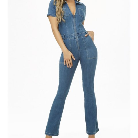 b6f398010 •••NWT••• -Flare denim jumpsuit. Size Large purchased from a - Depop