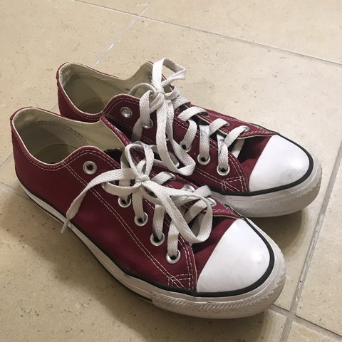 cf14a811db0 Maroon low top converse with white laces. Excellent Size 5 - Depop