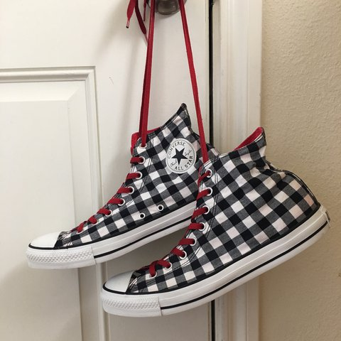 077c5ac0ad6d92 Converse Chuck Taylor All Star checkered high top. Great No - Depop