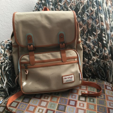 d1097f00371 hot style brand canvas polyester pleather laptop backpack i - Depop