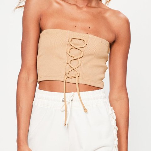 33e4c00159 Missguided camel tan nude lace up detail ribbed bandeau 8 10 - Depop