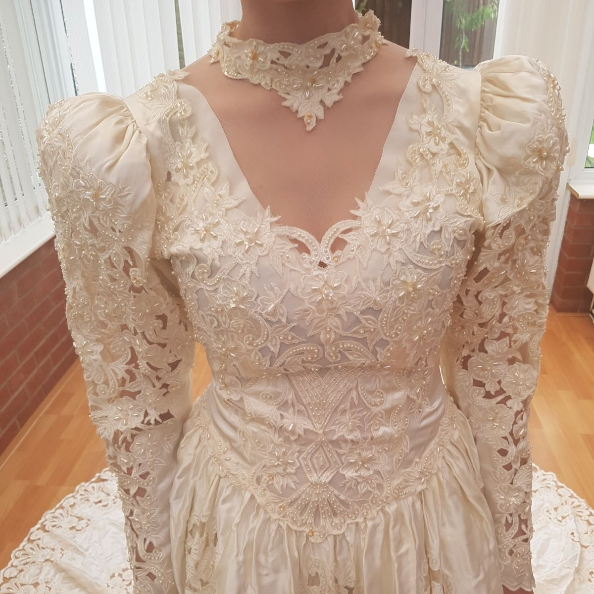 Vintage Lace Wedding Dress With Long Trail And Pearl Depop