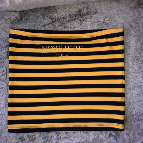 2dd14dbd1f78 navy blue and yellow striped tube top could fit as a WORN - Depop