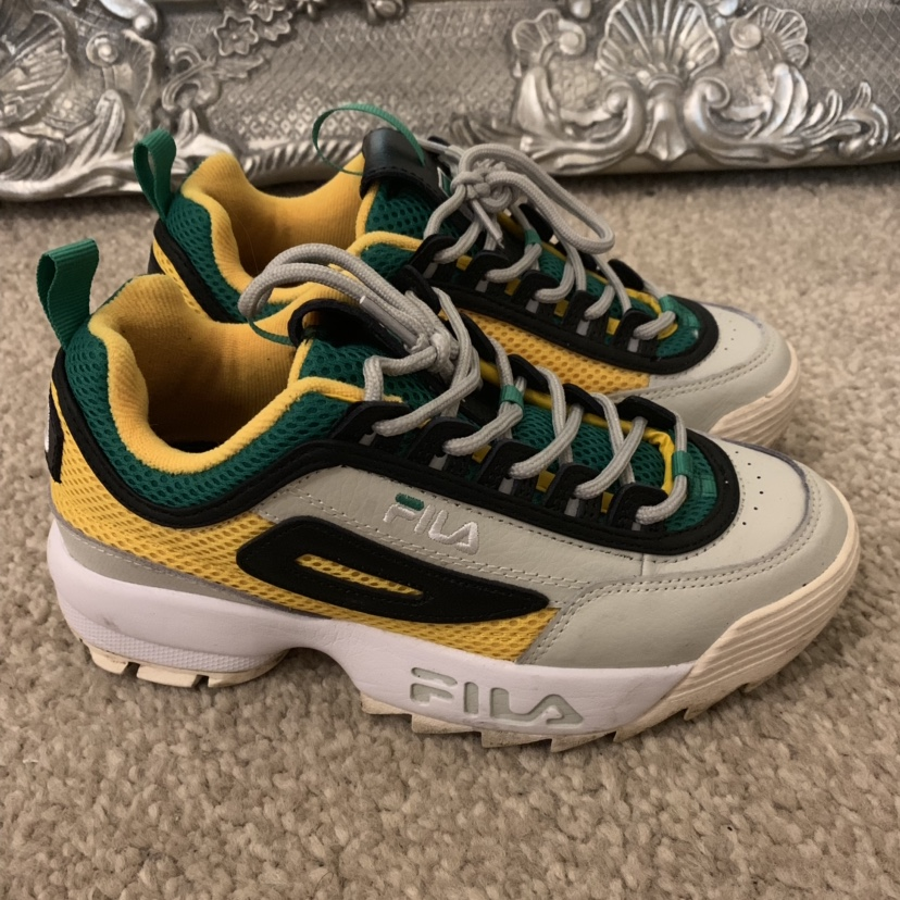 best wholesaler newest collection hoard as a rare commodity Limited Edition Green and Yellow Fila Disruptor II... - Depop