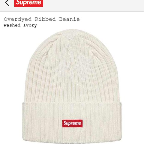 8117fdb1d1031 🔥DEADSTOCK🔥 SUPREME SS 18 Overdryed Beanie! SIZE  White - Depop
