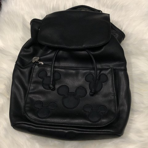 BLACK LEATHER MICKEY MOUSE BACKPACK Vintage Disney Mickey a - Depop
