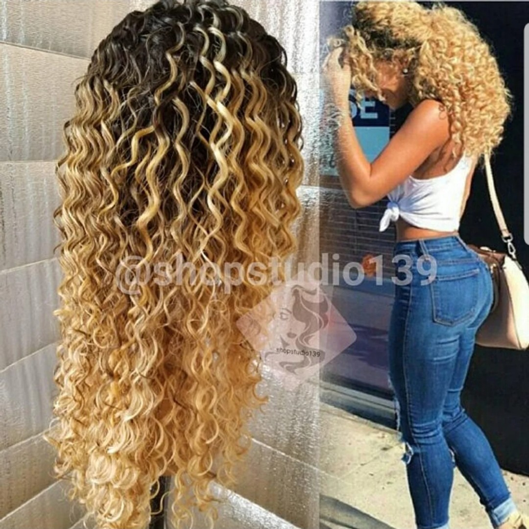 Honey Blonde Dark Roots Big Curly Human Hair Lace Depop