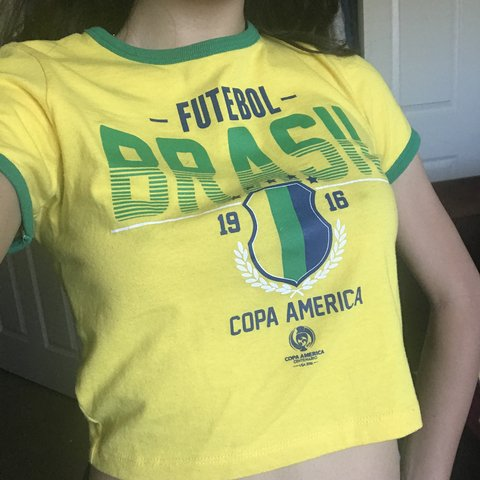 324e83e61d8 futbol soccer brazil crop top. yellow green. size small also - Depop