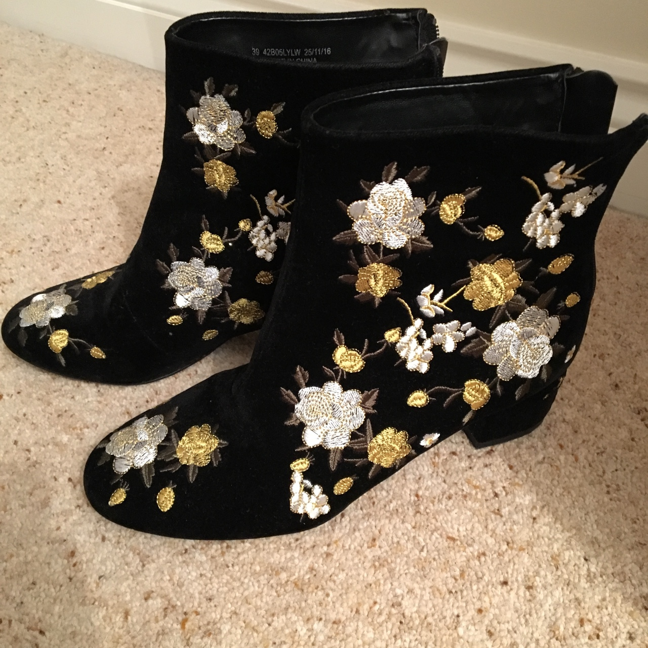 Topshop black embroidered ankle boots