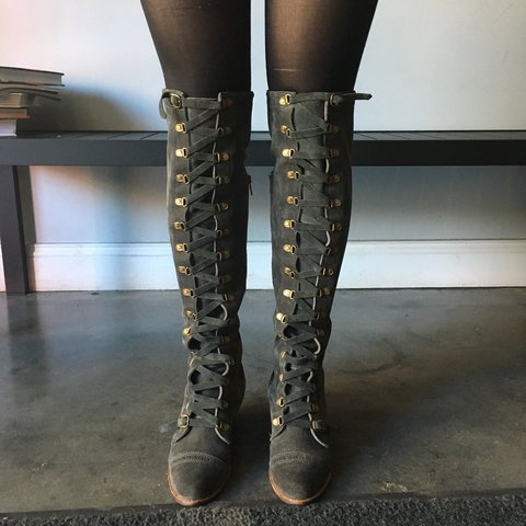 b32dd2a55fb Size 8 olive colored suede Johnny Tall boot by Free People. - Depop