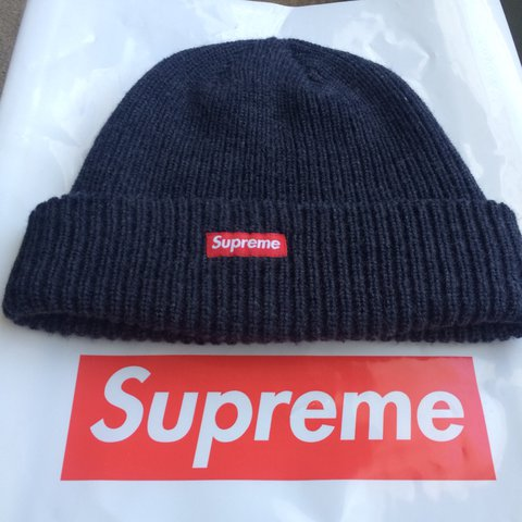 a629c99e39d SUPREME FW17 Heather Loose Gauge Beanie Navy Blue with mini - Depop