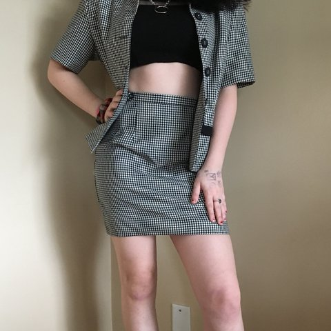 d902858d8 @insensitiveteenager. 2 months ago. Vancouver, Canada. Black and White  Gingham Print Pencil Skirt.