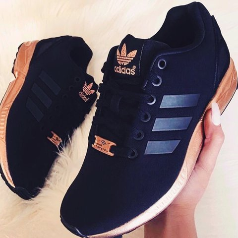 ef2f31c5f80 Limited edition Adidas flux rose gold and black trainers 39 - Depop
