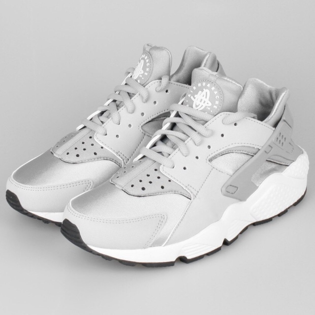Silver grey white womens Nike Huarache trainers UK size 5.5. - Depop 7e4f80fcd
