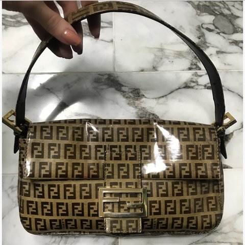 4dca9a23607d ... bag FF logo Black Brown Woman Authentic Used Y6036 b722693fe296f  Fendi  monogram authentic baguette in rare vinyl like coating - Depop  b4e7944028763 ...