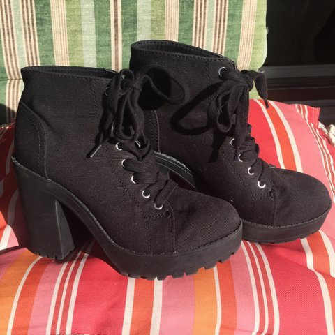 685c40a4633 On hold for  alinicada Black canvas platform boots from h m - Depop