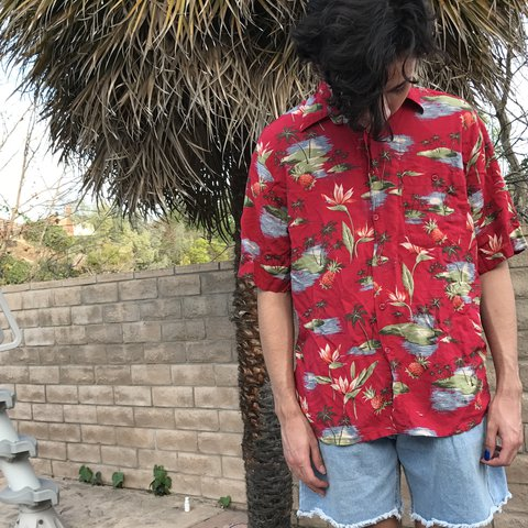 a82f2a687 dad on vacation in Hawaii vibes, this has a bit of wear to a - Depop