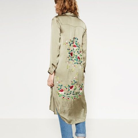 c0341872a9 Zara long khaki green embroidered satin kimono/jacket/shirt✨ - Depop