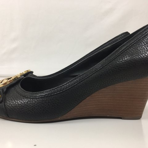 6d98ccea5 Tory Burch Black Peep Toe Size 10.5 Black leather Excellent - Depop