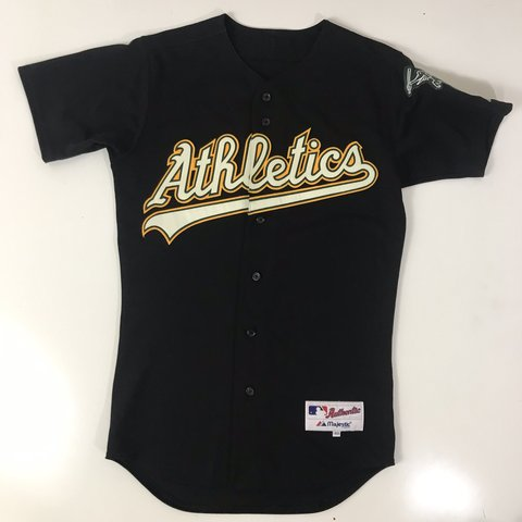 cfd24372afa Authentic Majestic Oakland Athletics Jersey Size 40 Black - Depop