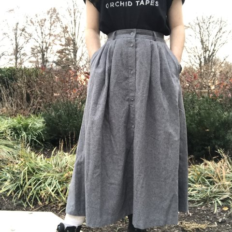 70a5f8b13 Vintage button-up gray maxi skirt. This gives off a village - Depop