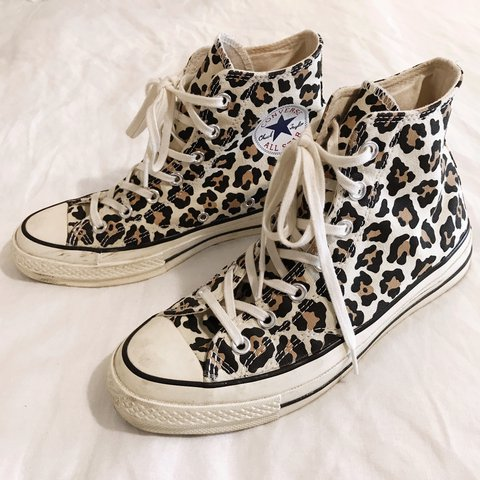 9933093c60c High-top CONVERSE    limited edition leopard print    retro - Depop