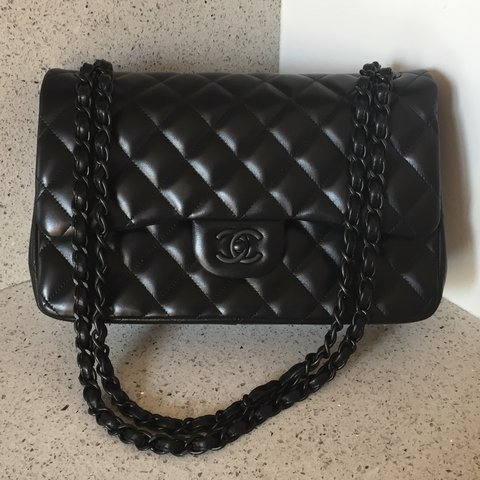 4c0c17939d40 Chanel so black jumbo classic flap in lamb with matte - Depop