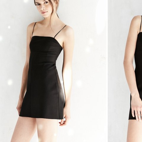 20dcafed3aa8f @amberhill. yesterday. Manchester, United Kingdom. Silence + noise Audrey  black A line mini slip dress.