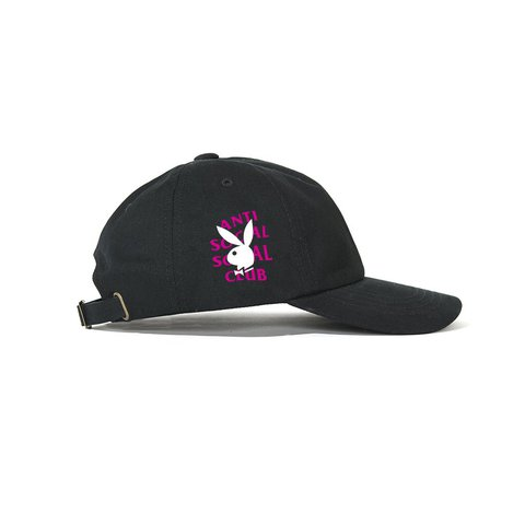 8068ca5d1fd Anti Social Social Club Hat Playboy Remix Cap Black Pink New - Depop