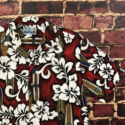 2621f571 @geezygotdeals. last year. Valley Center, United States. Vintage RJC Hawaiian  Shirt Floral Aloha Camp Tee Red Men's Large Button Down