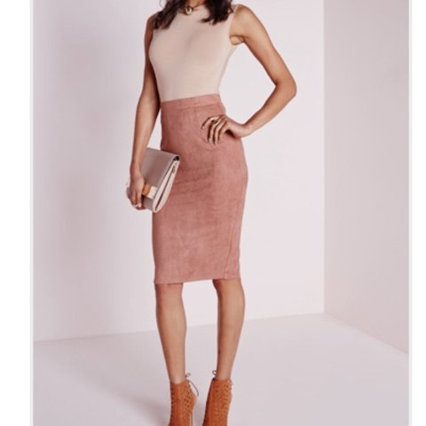 612bc47cd @oskxox. 2 years ago. Manchester, UK. Missguided Berryana Faux Suede Midi  Skirt Mauve/Pink!