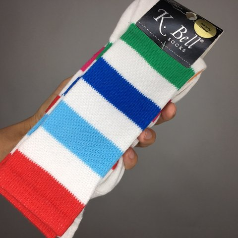 991cfe200 K. Bell 2 pack sporty crew socks. 72% cotton 26% poly 2% sz - Depop