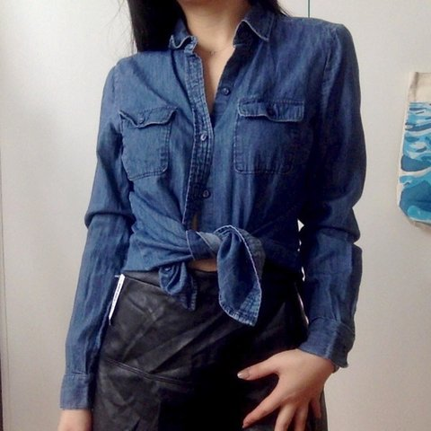b447b8fe @wendywg. 2 months ago. New York, United States. loft blue chambray button  down shirt in women's ...